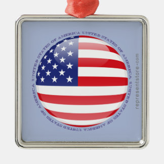 United States Bubble Flag Metal Ornament