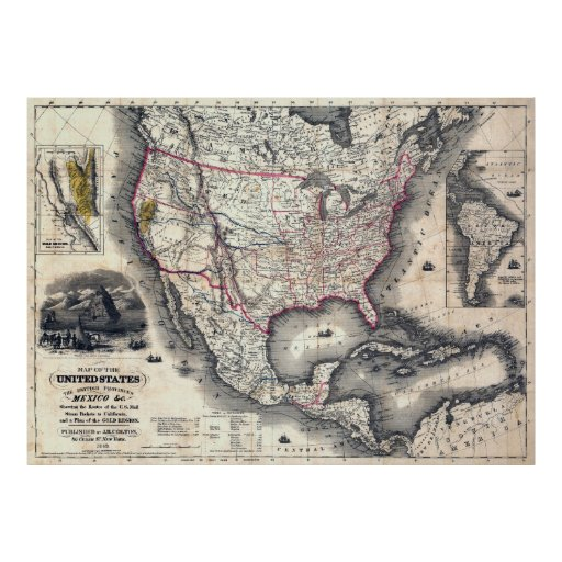 UNITED STATES CALIFORNIA GOLD RUSH MAP 1849 POSTER