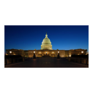 United States Capitol Building at Dusk Poster