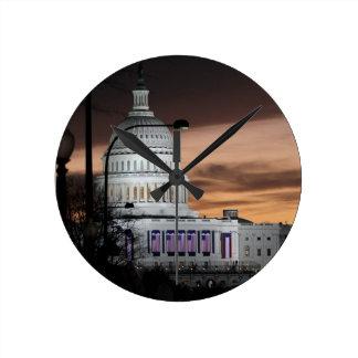 United States Capitol Building at Dusk Round Clock