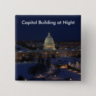 United States Capitol Building at Night Pinback Button