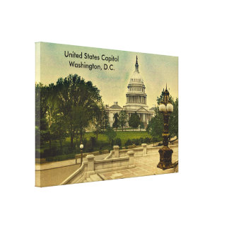 United States Capitol from Library Steps Date 1898 Canvas Print