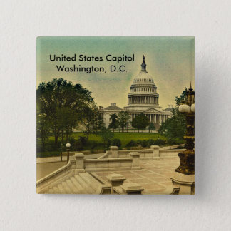 United States Capitol from Library Steps Date 1898 Pinback Button