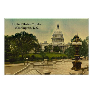 United States Capitol from Library Steps Date 1898 Poster