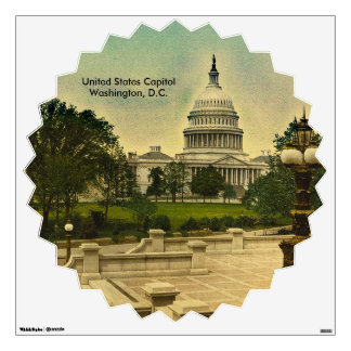 United States Capitol from Library Steps Date 1898 Wall Sticker