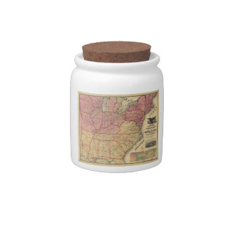 United States Civil War Map by Charles Magnus 1862 Candy Jars