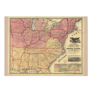 United States Civil War Map by Charles Magnus 1862 Card