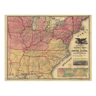 United States Civil War Map by Charles Magnus 1862 Postcard