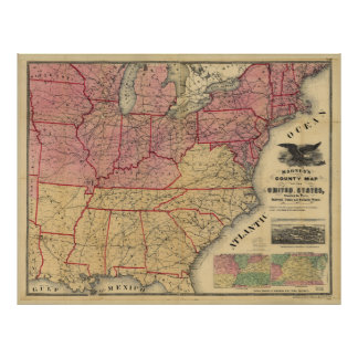 United States Civil War Map by Charles Magnus 1862 Poster
