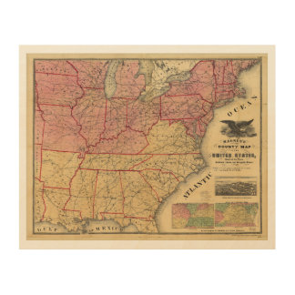 United States Map Wood Wall Art Zazzle - Rustic map of the us in the civil war