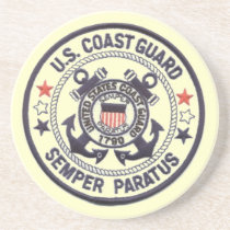 United States Coast Guard Sandstone Drink Coaster