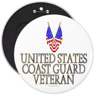 United States Coast Guard Veteran 6 Inch Round Button