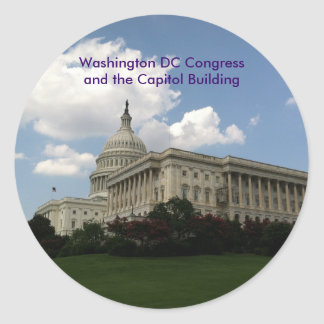 United States Congress and Capitol Classic Round Sticker