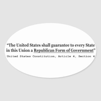 United States Constitution Article 4 Section 4 Oval Sticker