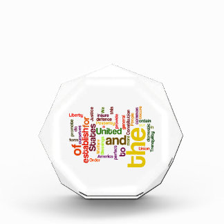 United States Constitution Preamble Word Cloud Acrylic Award