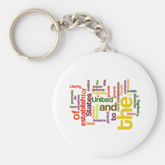 United States Constitution Preamble Word Cloud Basic Round Button Keychain
