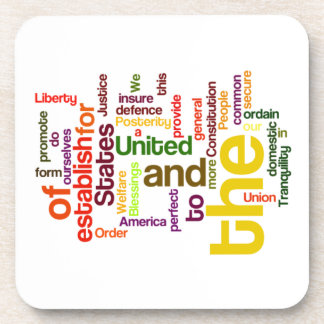 United States Constitution Preamble Word Cloud Coaster