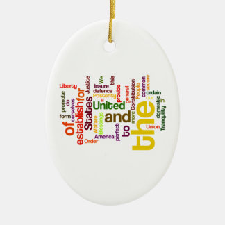 United States Constitution Preamble Word Cloud Double-Sided Oval Ceramic Christmas Ornament