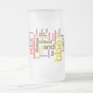 United States Constitution Preamble Word Cloud Frosted Glass Beer Mug