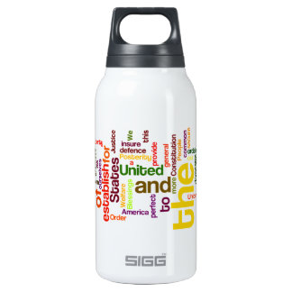 United States Constitution Preamble Word Cloud Insulated Water Bottle