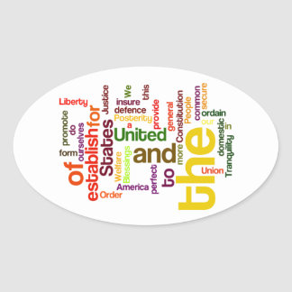 United States Constitution Preamble Word Cloud Oval Sticker