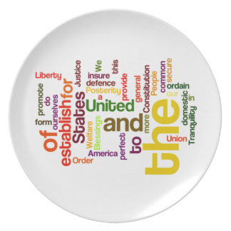 United States Constitution Preamble Word Cloud Party Plate