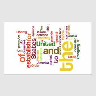 United States Constitution Preamble Word Cloud Rectangular Sticker