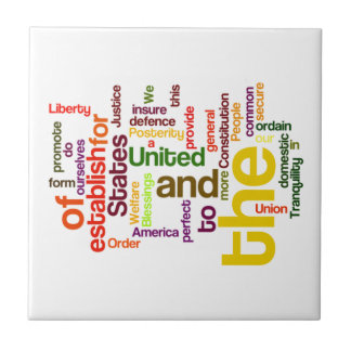 United States Constitution Preamble Word Cloud Small Square Tile