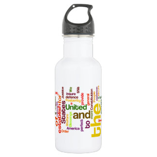 United States Constitution Preamble Word Cloud Stainless Steel Water Bottle