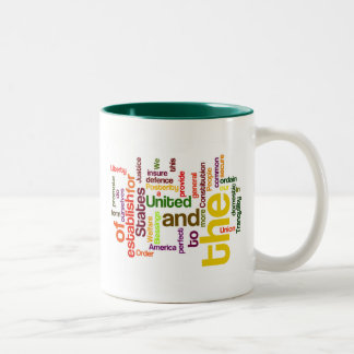 United States Constitution Preamble Word Cloud Two-Tone Coffee Mug