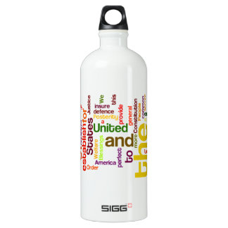 United States Constitution Preamble Word Cloud Water Bottle