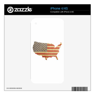 United States Country & Flag Skins Decal For iPhone 4S