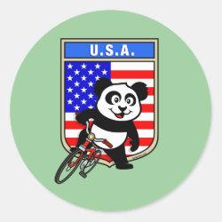 Round Sticker with USA Cycling Panda design