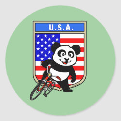 Round Sticker with USA Cycling Panda design