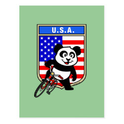 Postcard with USA Cycling Panda design