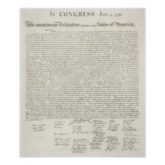 United States Declaration of Independence 1776 Poster