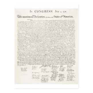 United States Declaration of Independence Postcard