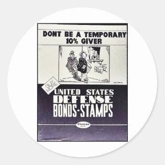 United States Defense Bonds-Stamps Classic Round Sticker