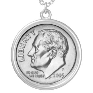 United States Dime Money necklace.