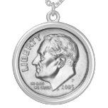 United States Dime Money necklace. Round Pendant Necklace