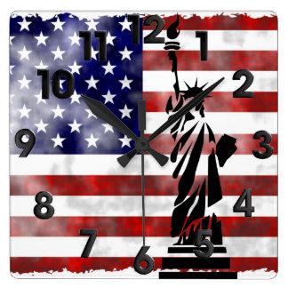 United States discolored Square Wall Clock