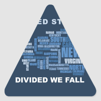 United States Divided We Fall HQ Colored Gifts Triangle Sticker