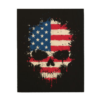 United States Dripping Splatter Skull Wood Canvases