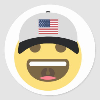United States Emoji Baseball Hat Classic Round Sticker