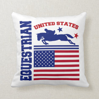 United States Equestrian Throw Pillows