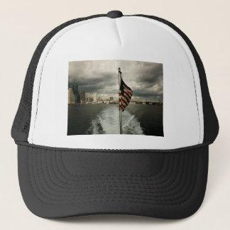 United States Flag and New York City Skyline Trucker Hat