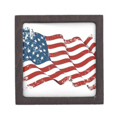 United States Flag Distressed look Premium Keepsake Boxes
