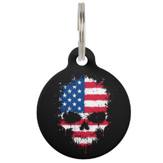 United States Flag Dripping Splatter Skull Pet Nametags