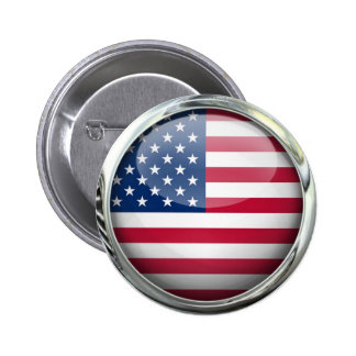 United States Flag Glass Ball Button