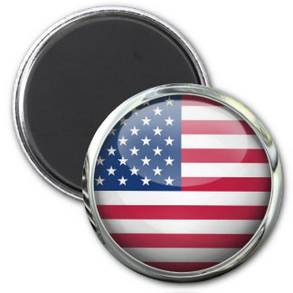 United States Flag Glass Ball 2 Inch Round Magnet